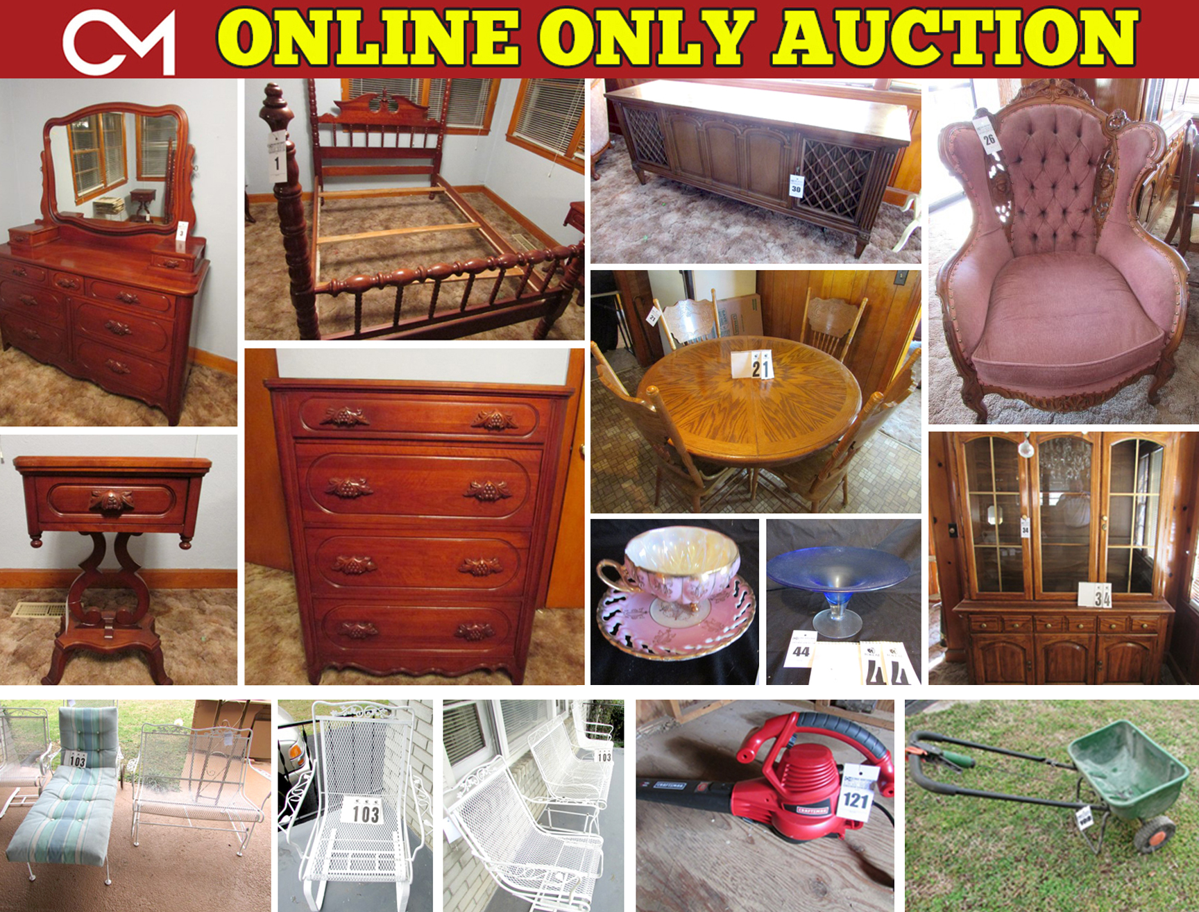 Personal Property Online Only Estate Auction Davis Cabinet Furniture Tools Lawn Equipment