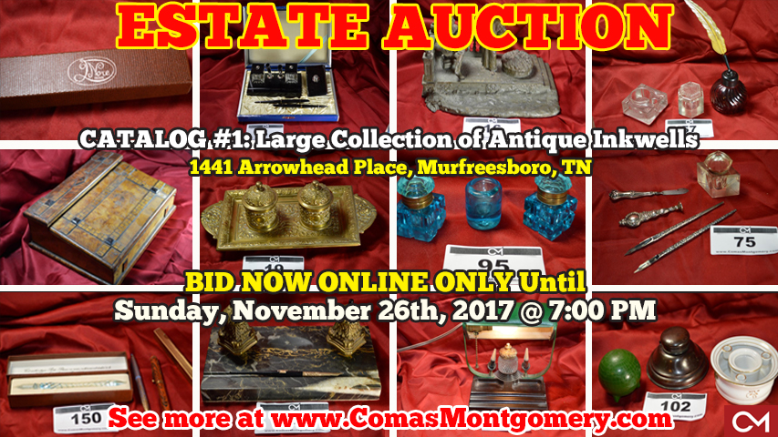 Estate, Auction, Antique, Antiques, Inkwell, Inkwells, Collectibles, Collection, Fudge, Estate Sale, Online, Bidding, Comas, Montgomery, Murfreesboro, Tennessee, Pen, Calligraphy, Vintage
