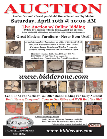 Auction Location  107 Oak Valley Drive  Macon  GA  on Hwy 49  Jones County. Model Home Furniture Auction   Never Been Used