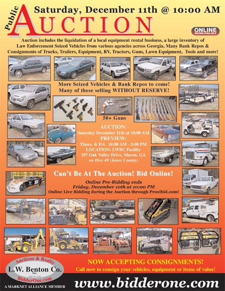 Seized Vehicle Bank Repo Consignment Auction