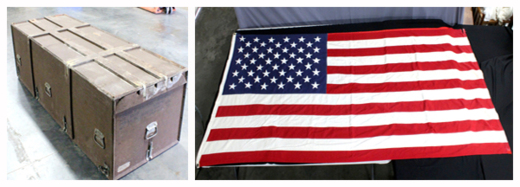Soldiers wwii casket and flag