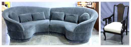 modern curved sofa and queen anne style cane chair for auction