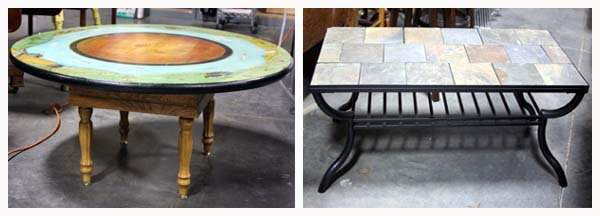 Folk Art Style Hand Painted Coffee Table, Slate Style Tile Top Black Metal  Base Coffee Table And Much More!