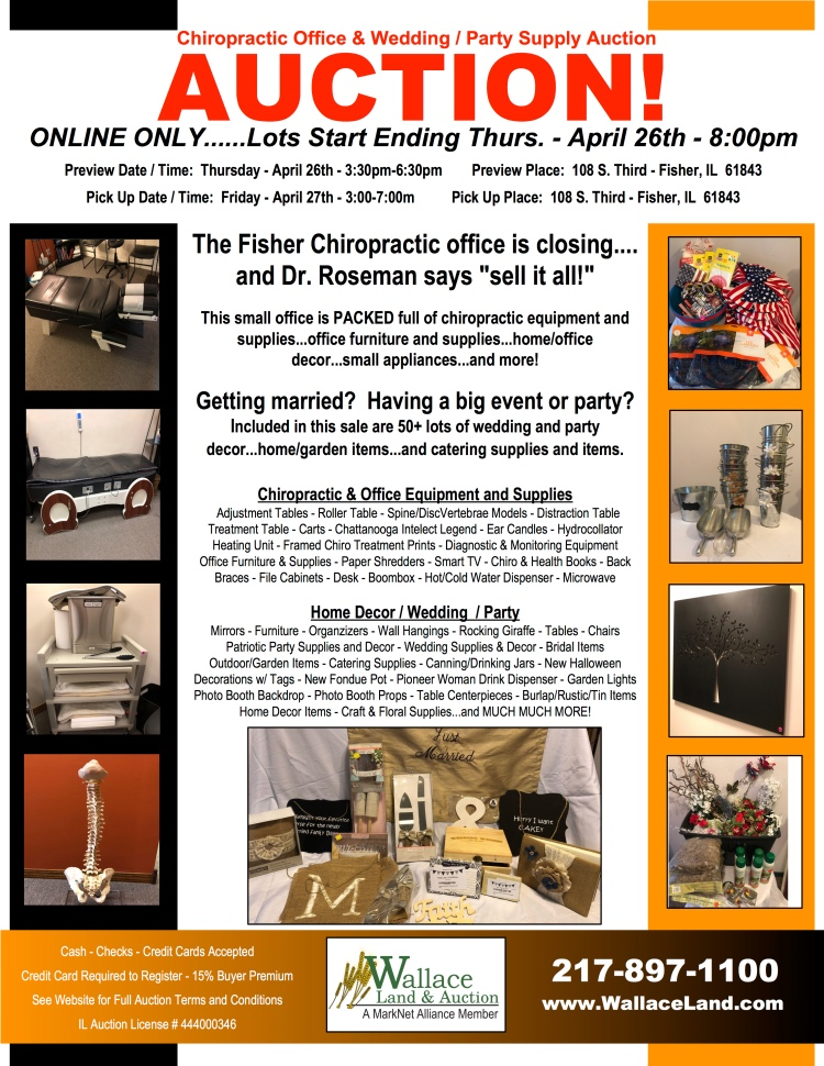 CHIROPRACTIC OFFICE & WEDDING / PARTY SUPPLIES AUCTION