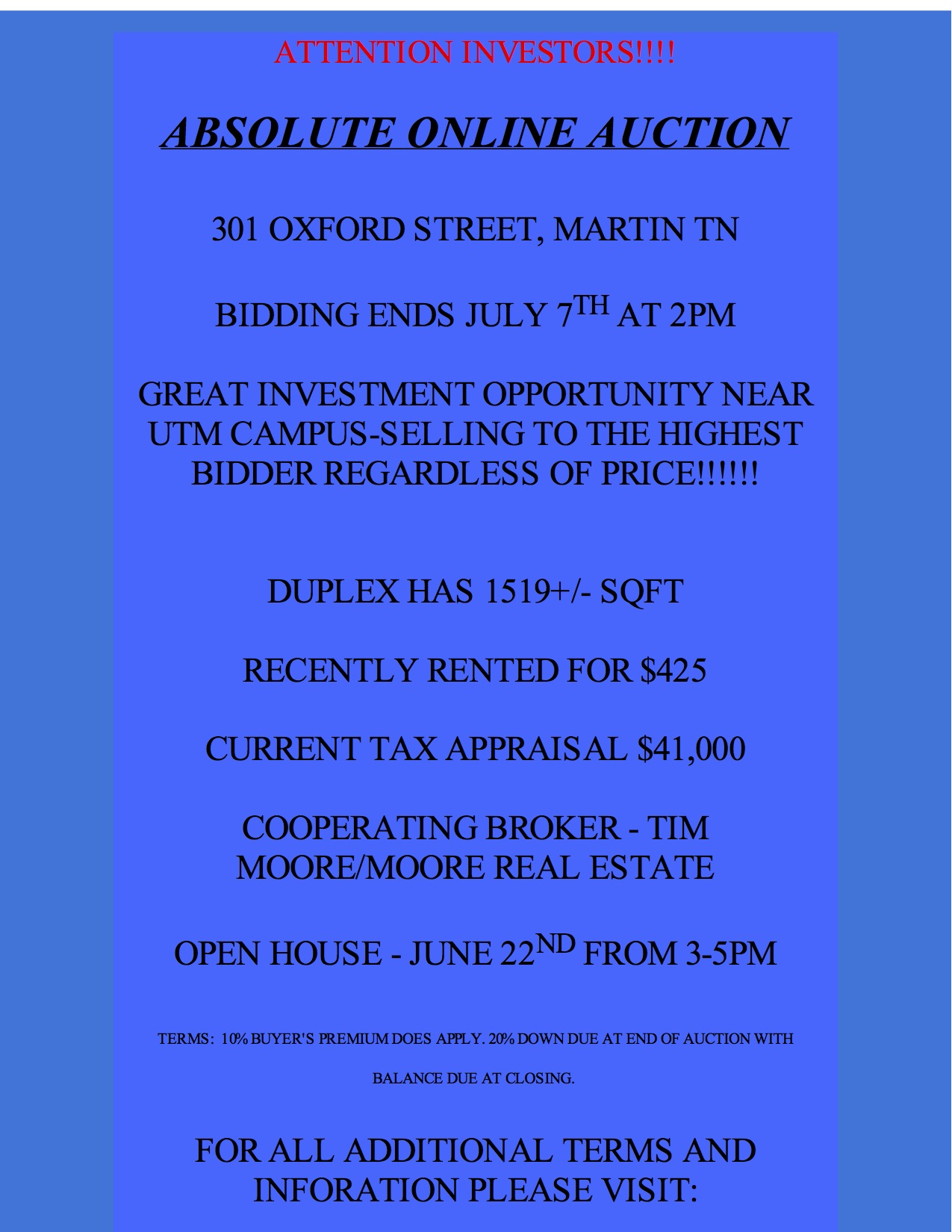 absolute online auction 301 oxford st martin tn near utm