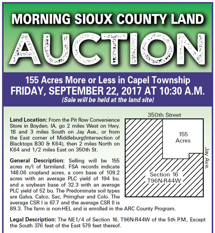 Stone Brothers Auction, LLC - Vermeer Land Auction in Sioux