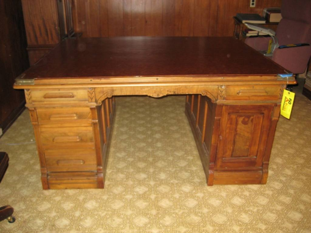 Antique Partners Desk, Double Sided/2 Person Desk With