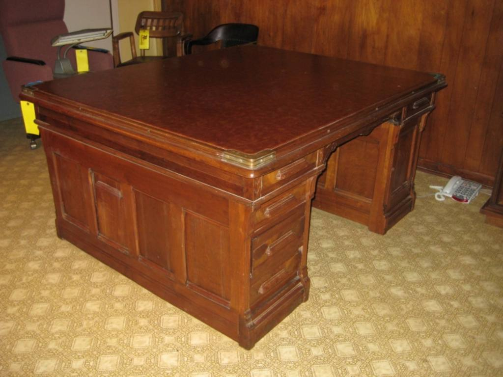 Antique Partners Desk Double Sided 2 Person Desk with