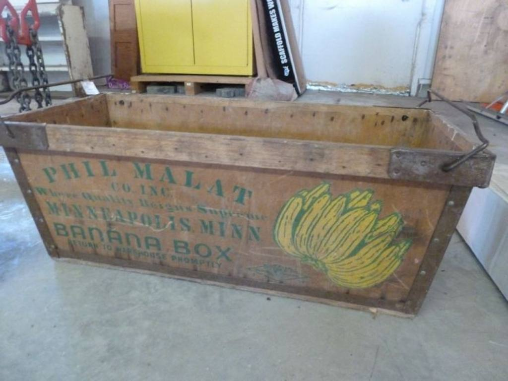 antique phil malat banana box 34 5 x 15 5 x 13 h and rope