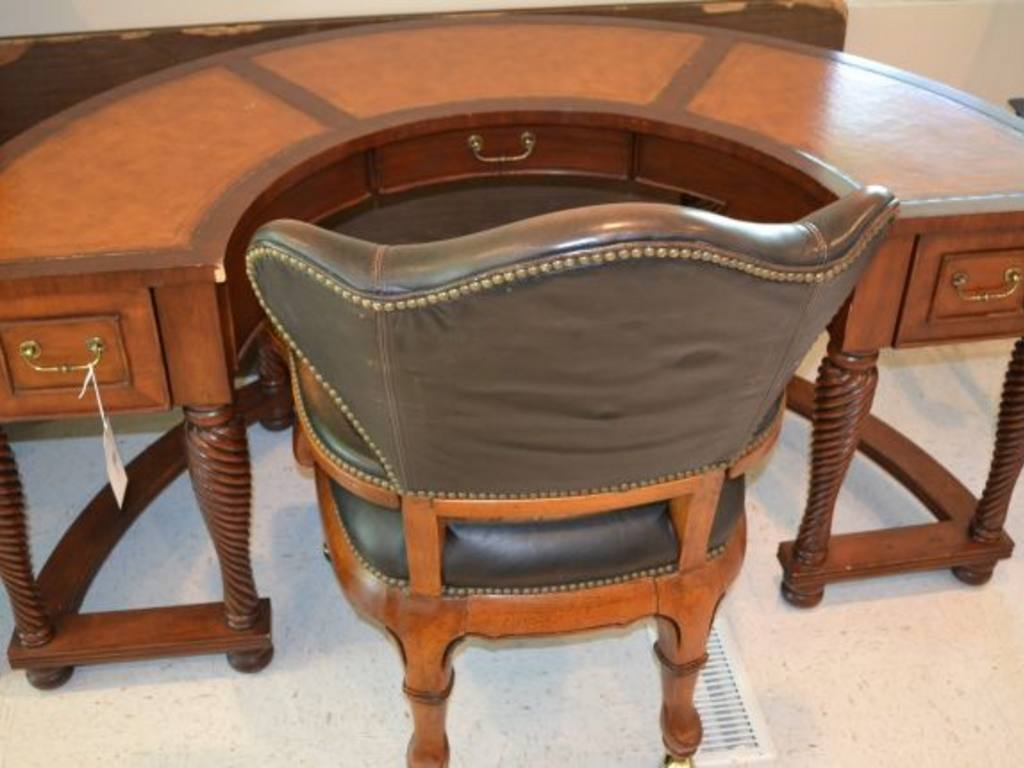 Half Round Leather Inlayed Top Desk W Spiral Twist Legs And Thomasville Padded Chair