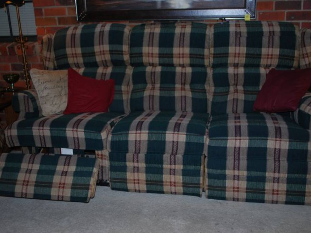 Plaid Green Dual Reclining Sofa
