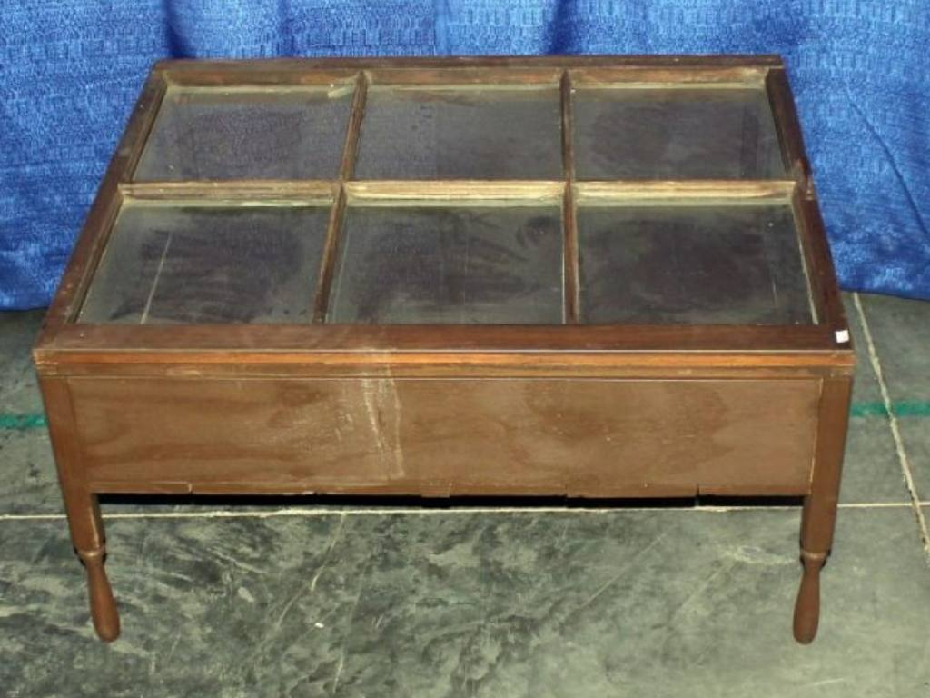 Glass Top Window Pane Display Case Coffee Table