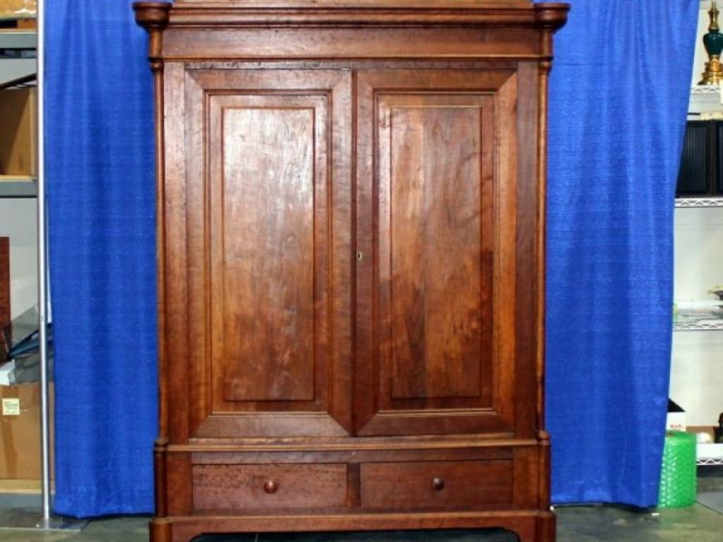 Large Antique Cherry Wood Knockdown Wardrobe / Armoire. Full resolution  portrait, nominally Width 1024 Height 768 pixels, portrait with #183C9B.