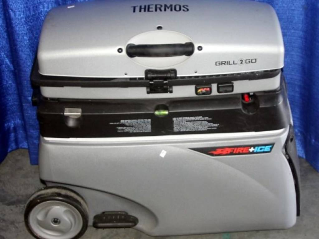 thermos fire ice grill 2 go cooler gas camp grill. Black Bedroom Furniture Sets. Home Design Ideas